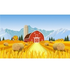 Cartoon beautiful fall farm scene vector