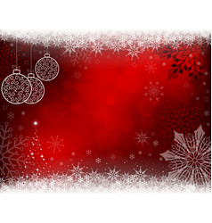 christmas red background with retro balls vector image vector image