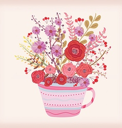 Creative with teacup full of watercolor flowers vector