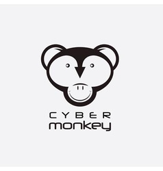 cyber monkey computer shop design template vector image