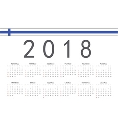 Finnish 2018 year calendar vector image