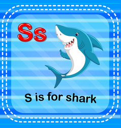 Flashcard letter s is for shark vector