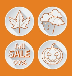 four orange icons fall flat vector image vector image