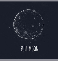 Full moon in outer space with lunar craters logo vector