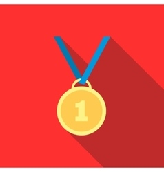 Gold medal icon in flat style vector image vector image