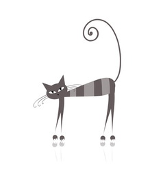 grey striped cat vector image vector image