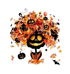 Halloween holiday design pumpkin head vector