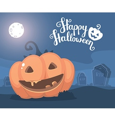 halloween of decorative orange pumpkin with vector image vector image