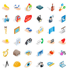 Hard work icons set isometric style vector