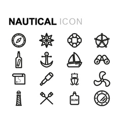 line nautical icons set vector image