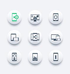 mobile desktop apps icons set vector image vector image