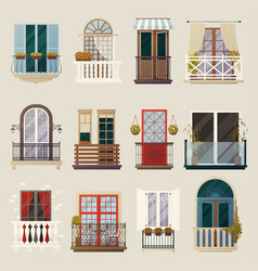 Modern classic vintage balcony elements collection vector