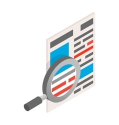 Newspaper with magnifying glass icon isometric 3d vector