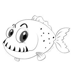 Outline animal for fish with sharp teeth vector
