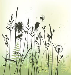 Real grass silhouette with bumblebee vector