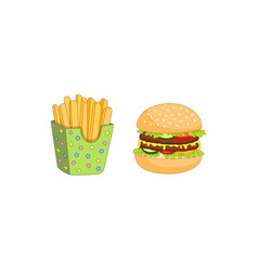 sandwich burger potato fry set isolated vector image