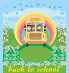 school bus with happy children vector image