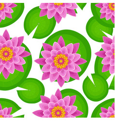 Seamless pattern with pink lotus vector