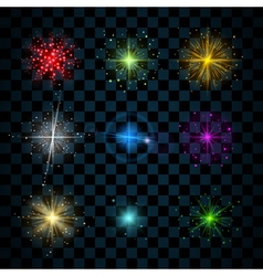 Shine colorful stars glitters vector
