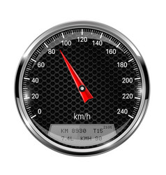 Speedometer round black gage with metal frame vector