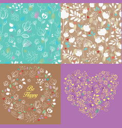 Spring drawing floral patterns set vector