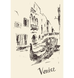 Streets venice italy with gondola vintage engraved vector