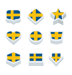 Sweden flags icons and button set nine styles vector