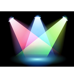 Three colorful spotlights vector image vector image
