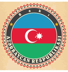 Vintage label cards of azerbaijan flag vector