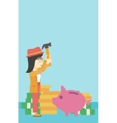Woman breaking piggy bank vector