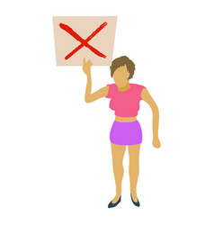 Woman protest with sign icon cartoon style vector