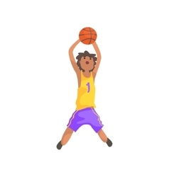 Basketball player jumping and throwing action vector