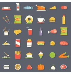 Food icons and symbols set retro flat vector