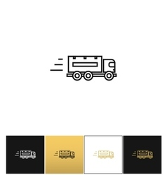 Speeding delivery symbol or truck linear vector