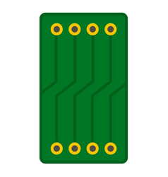 green circuit board icon isolated vector image