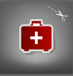 medical first aid box sign  red icon with vector image