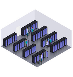Isometric datacenter hosting servers room concept vector