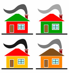 Multicolored houses set vector