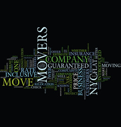 Flat rate movers in nyc text background word vector