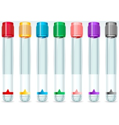 Cap tube set in seven colours vector