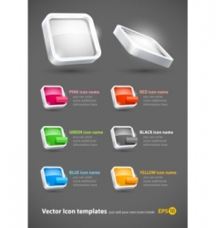 3d color icons set vector