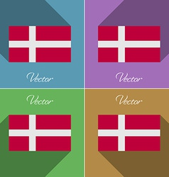 Flags denmark set of colors flat design and long vector