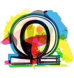 Artistic omega sign vector