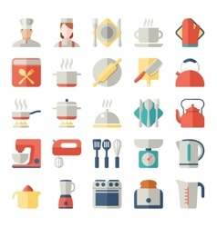 Set of kitchen icons in flat design vector