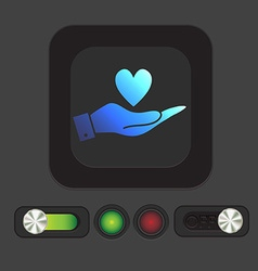 Hand holding a heart symbol vector