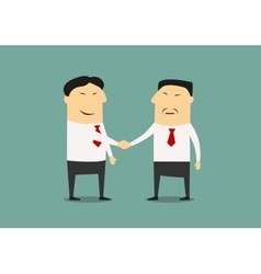 Handshake of two asian businessmen vector