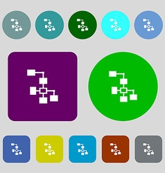 Local network icon sign 12 colored buttons flat vector