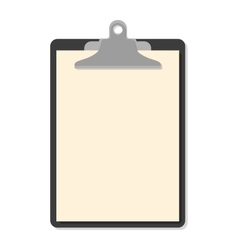 Flat clipboard with paper sheets on white vector image