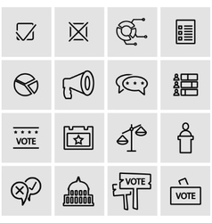 Line election icon set vector