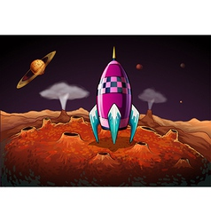 A rocket at the outerspace near the planets vector